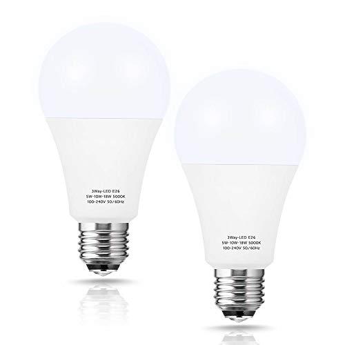 3 Way LED Light Bulbs 50 100 150W Equivalent, Briignite 3 Way Light...