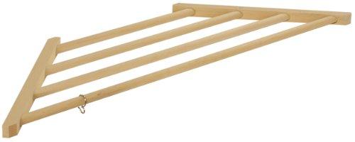 コーナーハンガー 木製 96×31×2.5cm 藤田木工所 フック付 和室・洋室用 上にも収納できる省スペースハンガー