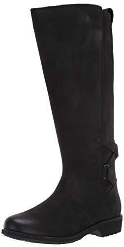 Teva womens Ellery Tall Waterproof Burnished Knee High Boot, Black, 8.5 US