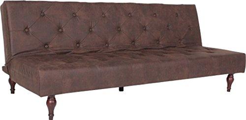 Kasper-woondesign Kawoola vintage bedbank stof Chesterfield Style bank bruin slaapbank 190 x 92 x 39 cm