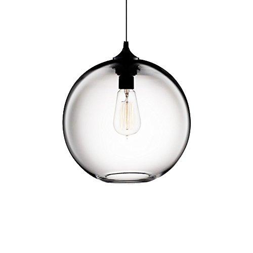 Wings of wind - Lámpara de techo industrial esférica de la vendimia de la lámpara E27 Colgante colorido jaula de cristal (Transparent)