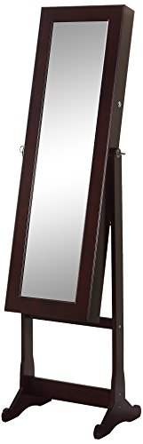 Artiva USA - Espresso Wood Finish – Free Standing Cheval Mirror and Jewelry Armoire Display with LED Light and Key Lock – Beautiful & Functional Home Decor – Solid Construction – Jewelry Holder – Make-up Stand – Open Door