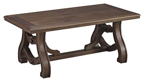 Ashley Furniture Signature Design Toscana Sofa Table Wood With Natural Slate Tiles And Lower Shelf Vintage Casual Rustic Brown Flipboard