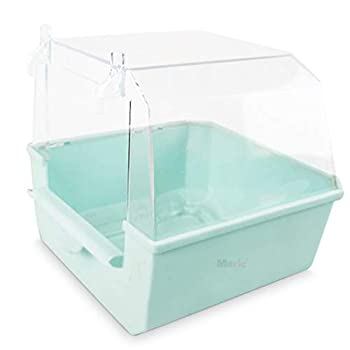 Meric Bird Bath for No-Mess Bath Experience Designed for Small to Medium Feathered Pets with Transparent Top Cover and Universal Clips for Quick Installation 1-Piece Color Blue