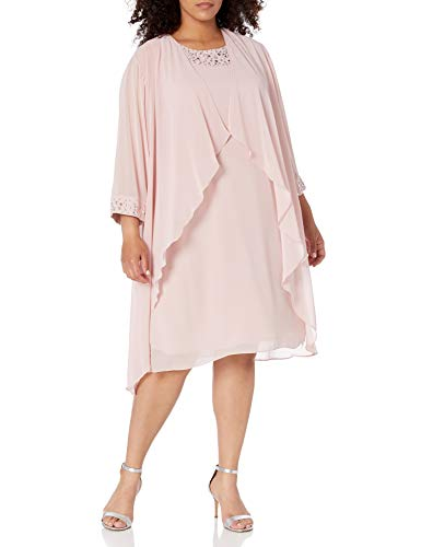 S.L. Fashions Women's Plus Size Chiffon Tier Jacket Dress Neck, Faded Rose Beaded, 22W (Apparel)