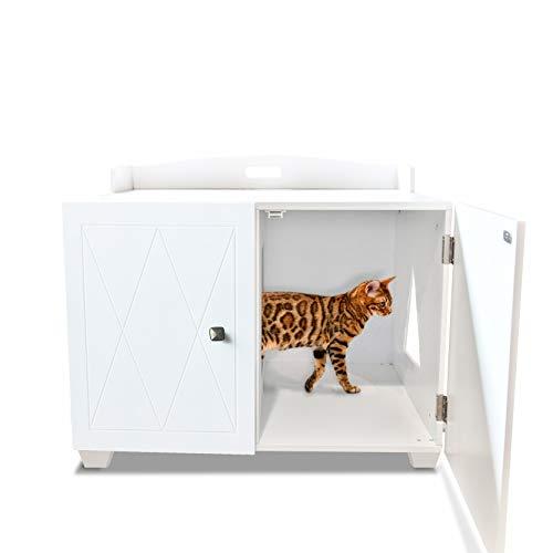Furhaven Pet Cat Bed Furniture | Designer Decorative Hidden Litter Box Cover Indoor Storage Washroom Cabinet Table Pet House Enslosure for Cats, White, One Size