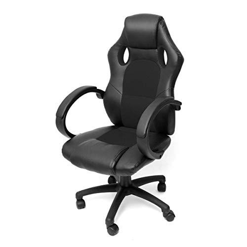 Sillas de escritorio de estilo de carreras de sillas de juego, silla ergonómica giratoria ejecutiva de oficina con espalda alta, silla de tareas de escritorio de computadora ajustable hight (negro) -5