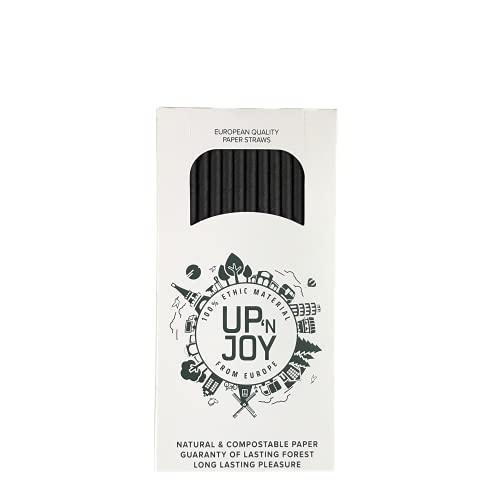 Upnjoy - 250 cannucce di carta, 250 cannucce nere da bere riciclabili, adatte per bevande con e senza alcol – per cocktail e succhi | Diametro di 6 mm | Made in Francia o Austria