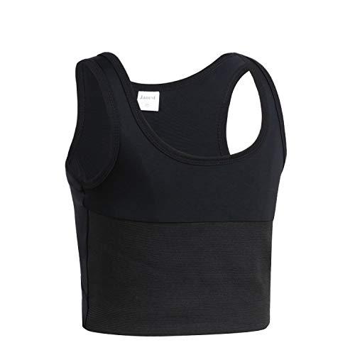 JARAZIN Tomboy Transgender Lesbian Pullover Half Length Chest Binder Corset Short Tank Top(XL, Black)