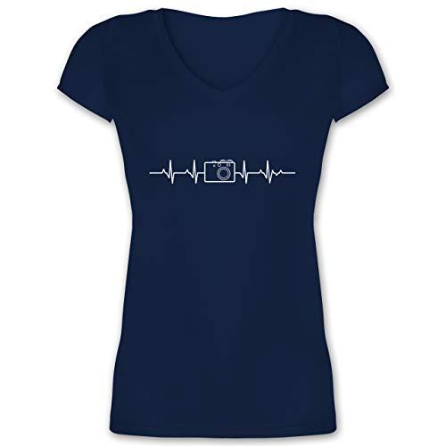 Symbole - Herzschlag Foto Kamera - XL - Dunkelblau - Shirt Damen Kamera - XO1525 - Damen T-Shirt mit V-Ausschnitt