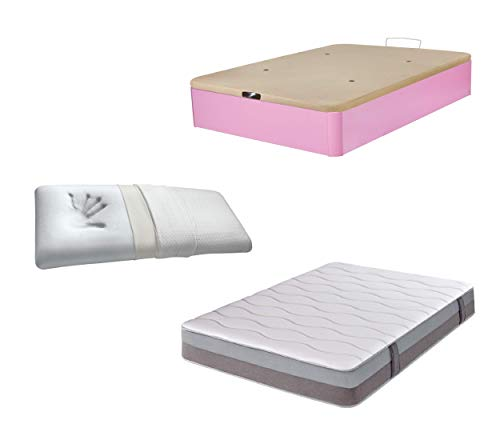 DHOME Pack Canape abatible tapizado 3D Madera + Colchón viscografeno, Reversible mas Almohada viscoelastica (105x190 Rosa, 22mm + Colchón + Almohada Viscoelástica)