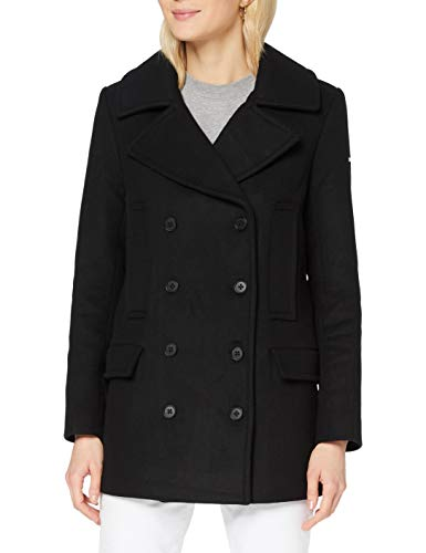 Superdry Womens Wool PEA Coat Jacket, Black, XS (Herstellergröße:8)