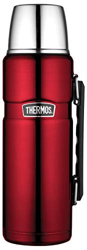 Thermos King Bouteille isotherme en acier inoxydable Rouge 1,2 l