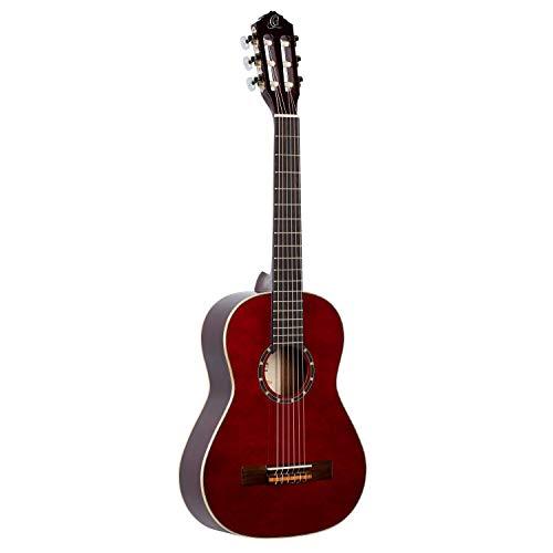 Ortega R121-1/2WR Konzertgitarre in 1/2 Größe weinrot im hochglänzenden Finish mit hochwertigem Gigbag