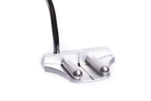 Rife Golf Right Handed Silver Two Bar Mallet Putter Patented Roll Groove Technology with Adjustable Weight System. Heel Shaft with Double Bend Makes It Perfect for Lining up Your Putts (Right, 35)