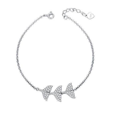 LONAGO Fishtail Bracelet 925 Sterling Silver Ocean Theme Mermaid Tail Bracelet Jewelry Gifts for Women (White)
