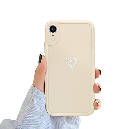NewseegoCompatibile periPhoneXRCustodia, Carino Heart iPhoneXR Custodia Morbido TPU iPhoneXR Cover per Ragazze Donne Protettivo Custodia in Antiurto Sottile iPhone XR- Bianca