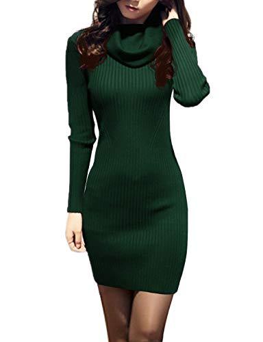 v28 Women Cowl Neck Knit Stretchable Elasticity Long Sleeve Slim Fit Sweater Dress (S,Dark Green)