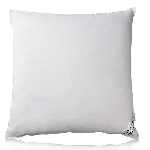 MH Mayaadi Home Premium Kopfkissen - 80 x 80 cm - 3 Kammer Daunenkissen - 100% Baumwolle - Weiche Gänse Daunen, Federn - Optimaler Schlafkomfort - Tasche als Zubehör - 1600g