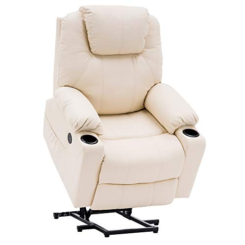 Mcombo Electric Power Lift Recliner Chair Sofa with Massage and Heat for Elderly, 3 Positions, 2 Side Pockets and Cup Holders, USB Ports, Faux Leather 7040 (Medium, Cream White)