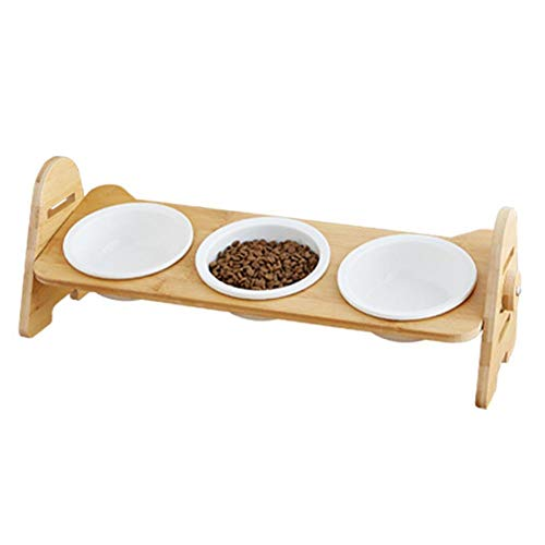 Dracol Comedero elevado, comedero para gatos y perros con 3 cuencos de cerámica para animales pequeños, medianos y perros