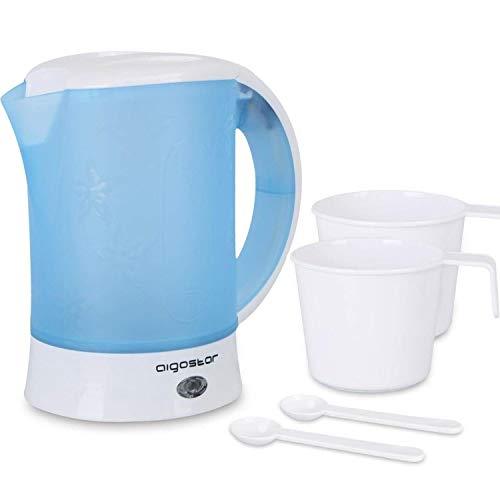 Aigostar Walking Drip - Wasserkocher klein 0,6 Liter 650W, Reise wasserkocher Kompakter, Inklusive 2 Tassen und 2 Teelöffel, Abschaltautomatik mit Trockenschutz, Blau.