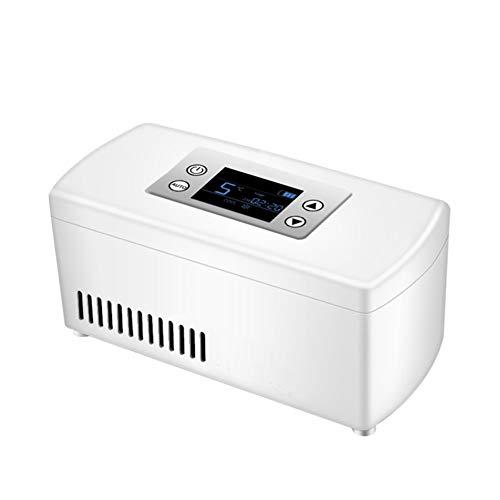 Caja Refrigerada De Insulina Portable,Nevera De Medicamentos Refrigerador,Recargable Pantalla LCD De 2-8 ° C Coche Enfriador De Insulina Mini Nevera De Medicina-Blanco