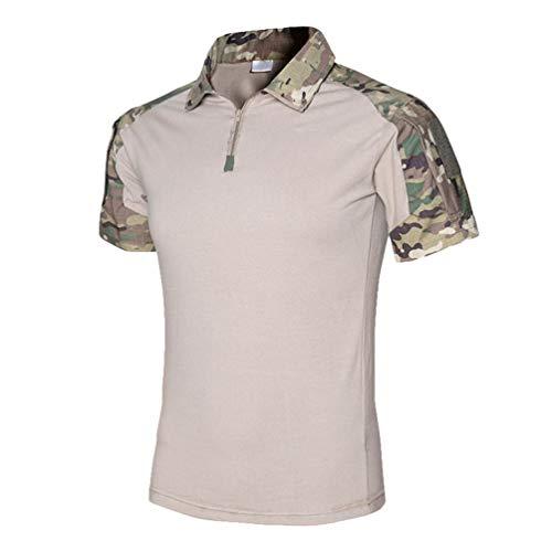 Kaiyei Hombre Camisas Tactica Militar, Slim Fit Manga Corta