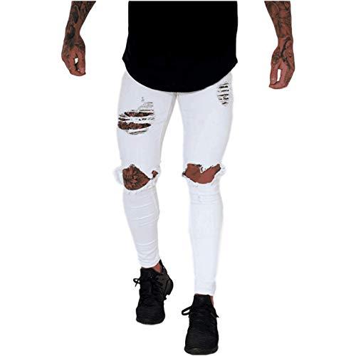 Beastle Jeans para Hombres Personalidad Retro, Nueva Personalidad de la Moda, Jeans Rasgados de Tendencia, Pantalones de Mezclilla microelásticos de Autocultivo Informal para Todos los Partidos 32