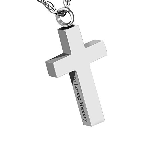 Dletay Cremation Necklace for Ashes Stainless Steel Urn Pendant Ashes Holder Memorial Jewelry-in Loving Memory(Silver)