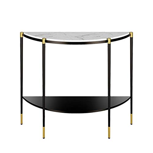 N/Z Home Equipment Console Table European Style Simple Semicircular Porch Wrought Iron Corridor Wall Shaped Porch Table (Color : Gold Size : 100x85x35cm)