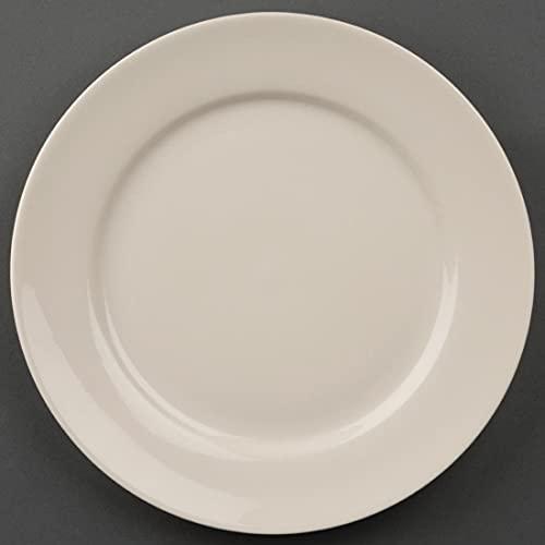 Olympia Ivory Assiettes à Rebord Large 200 mm en Porcelaine Crème - Entièrement Vitrifiée - Va au Four, Micro Ondes et Lave Vaisselle - Paquet de 12