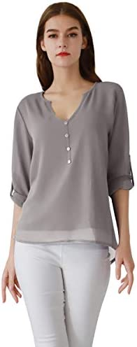 YMING Women s Casual Blouse and Top Chiffon V Neck Shirt 3 4 Sleeve Blouse Grey XL product image