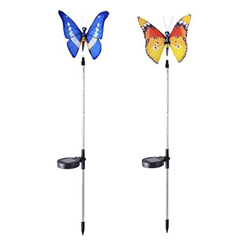 P Prettyia 2pcs Solar Stableuchten Schmetterling Gartendeko der schöne Hingucker auf ihrer Garten