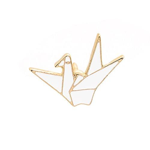Bonito broche de esmalte de grulla de papel de estilo japonés para mujeres y niñas, moda Origami, insignia de animales, alfileres, joyería, regalos de fiesta-2