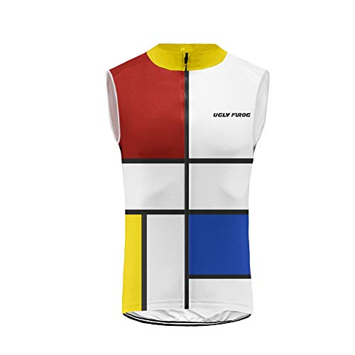 Uglyfrog Cycling Vest Sleeveless Jersey de Ciclo para Hombre Sin Mangas Profesional de Bicicletas de montaña y Carretera Accesorios de Ciclismo ESH19VSV11