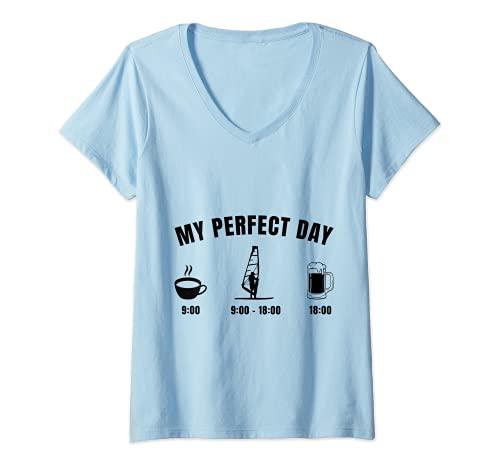 Mujer Surfer Windsurf My Perfect Day Tabla de surf Retro Camiseta Cuello V