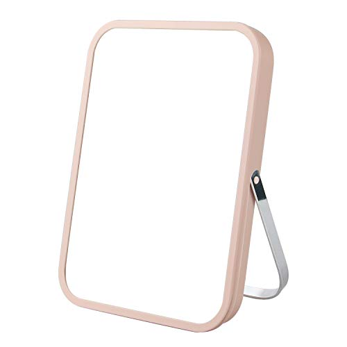 Tabletop Makeup Mirror,Square Desktop Foldable Vanity Mirror,8' Portable Folding Mirror with Metal Stand 90°Adjustable,Table Desk Standing Cosmetic Mirror Wall Hanging Dual-Purpose Small Mirror(Pink)