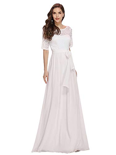 Ever-Pretty A-línea Encaje Talla Grande Vestido de Fiesta Cuello Redondo Largo para Mujer Blanco 52