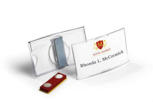 Durable 812319 Namensschild konvex (mit Magnet, 40 x 75 mm) Packung à 25 Stück, transparent