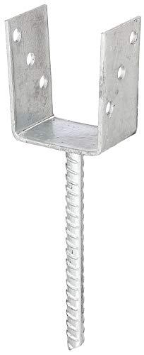 GAH-Alberts 214265 U-Pfostenträger | mit Betonanker aus Riffelstahl | feuerverzinkt | lichte Breite 91 mm | Länge Betonanker 200 mm