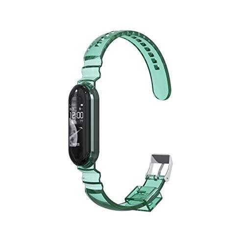 NCCZ TPU Transparent Watch Strap, Adecuado para la Banda Xiao MI, Compatible con Xiao MI Band 3/4/5, Puede reemplazar la Pulsera (Color : Green)