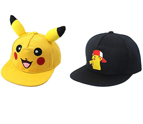 2 Pcs Anime Adulto Pokemon Pikachu Cosplay Sombrero Pocket Monster Ash Ketchum...