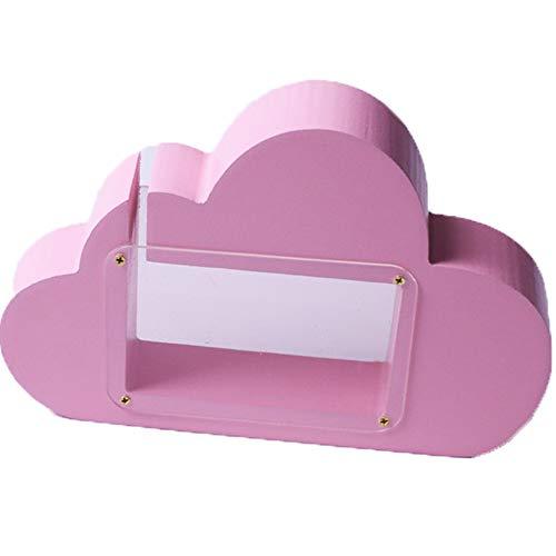 Kassa MYKK Houten Wolkentank Transparant Spaarpot Cartoon Kinderen Speelgoed Kinderkamer Decoratieve rekwisieten 19.5 * 14 * 3cm Roze