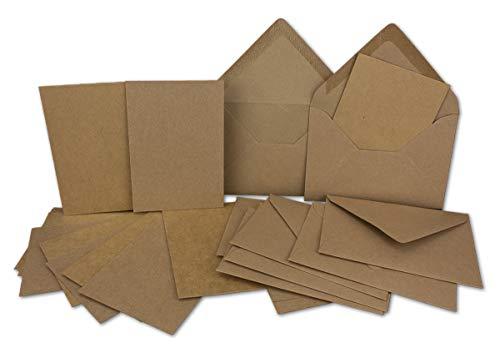 Tarjeta de juego de sobre de papel kraft único de tarjetas DIN A710,5x 7,3cm, 410g/m² marrón con carta con sobres C7nassklebung, color A7 / C7 - Braun 100 Set
