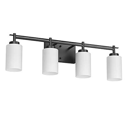 Aipsun Vintage Bathroom Vanity Light Black Bathroom Light Fixtures 4 Lights Industrial Black Vanity Light Vintage Wall Light(Exclude Bulb)