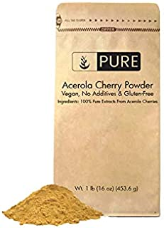 Acerola Cherry Powder (1 lb, ½ TSP per Serving) by Pure Organic Ingredients, 100% Pure, Rich in Vitamin C & Immunity Boosting, All-Natural, Gluten-Free, Eco-Friendly Packaging