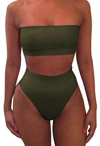Pink Queen Women's Remove Strap Pad Thong Bikini Set Swimsuit Amry Green M