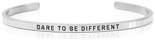 Daniel Sword Damen Message Armband Armreif Dare to BE Different- Steel – Silberfarben, One Size 7505