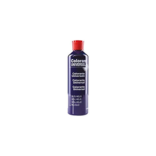 Bleu Hélio Colorant Universel Concentré 250 ml pour toutes peintures décoratives et bâtiment. Grande compatibilité aussi bien en milieux solvant et aqueux. Convient également à la coloration des enduits , plâtres , et résines. Grande facililté de dosage grâce à son bouchon compte goutte